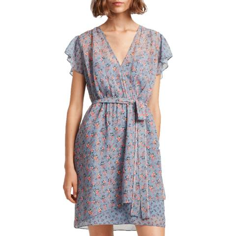 French Connection Blue/Multi Celestia Wrap Dress