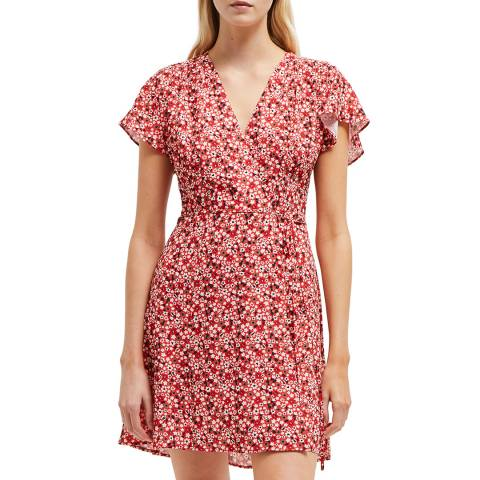 French Connection Pink/Red Eden Crepe Wrap Dress