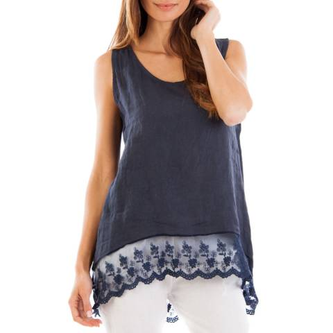 LE MONDE DU LIN Navy Relaxed Linen Top