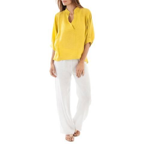 LE MONDE DU LIN Yellow V Neck Linen Blouse