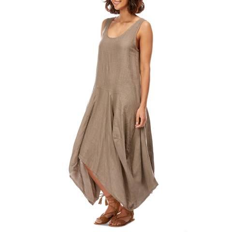 LE MONDE DU LIN Taupe Relaxed Linen Dress