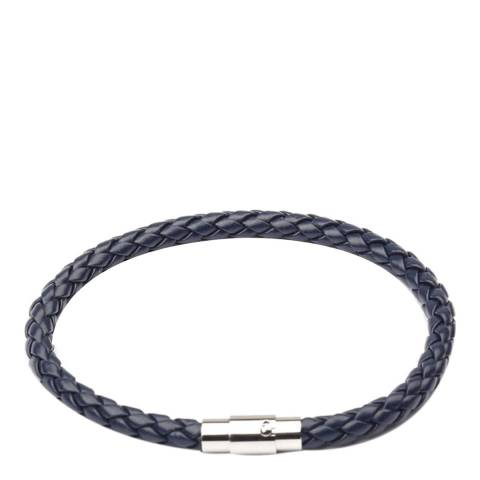 Stephen Oliver Silver Plated & Blue Leather Woven Bracelet