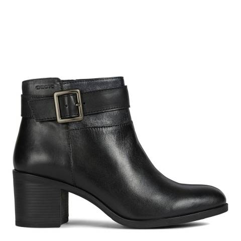 Geox Black Asheel Leather Heeled Ankle Boots
