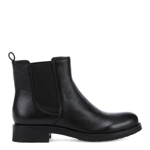 Geox Black Leather Rawelle Slip On Ankle Boots