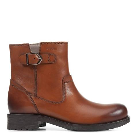 Geox Cognac Rawelle Leather Ankle Boots