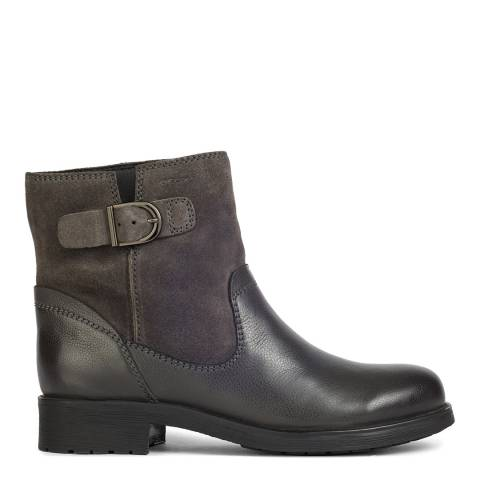 Geox Anthracite Rawelle Leather & Suede Ankle Boots