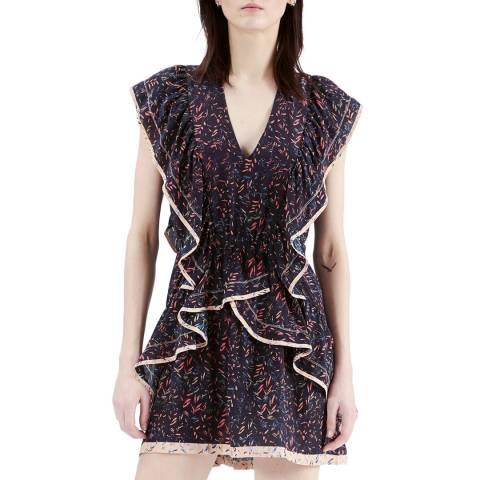 IRO Black Print Jicka Silk Dress