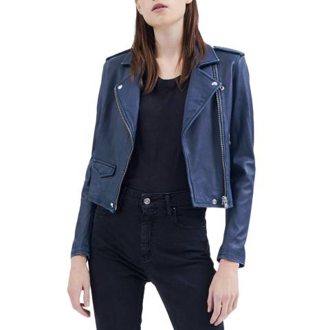 IRO Navy Ashville Luxe Leather Jacket