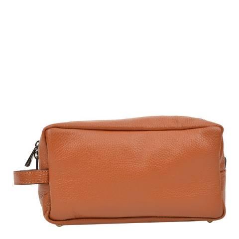 Carla Ferreri Cognac Leather Cosmetic Bag