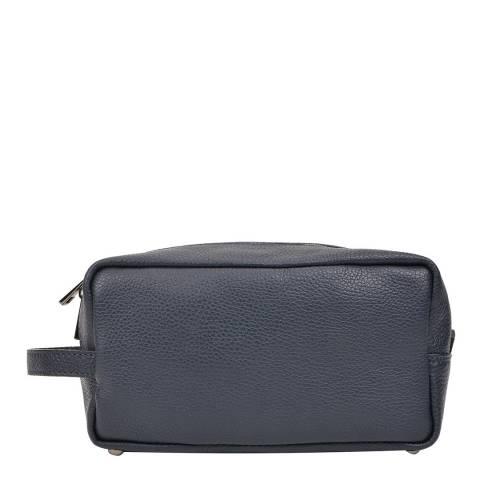 Carla Ferreri Navy Leather Cosmetic Bag