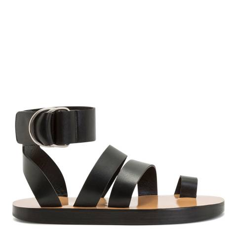 IRO Black Baby Leather Gladiator Sandals
