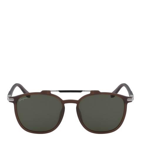 Ferragamo Brown Rectangle Sunglasses