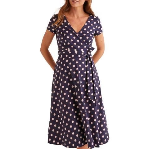 Boden Navy Olive Wrap Dress
