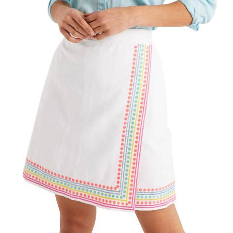 Boden White Anville Embroidered Wrap Skirt