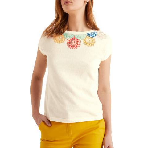 Boden White Elgin Embroidered Tee