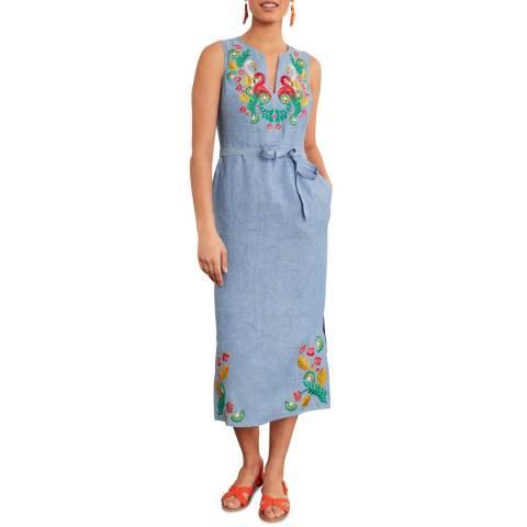 Boden Blue Cora Embroidered Midi Dress