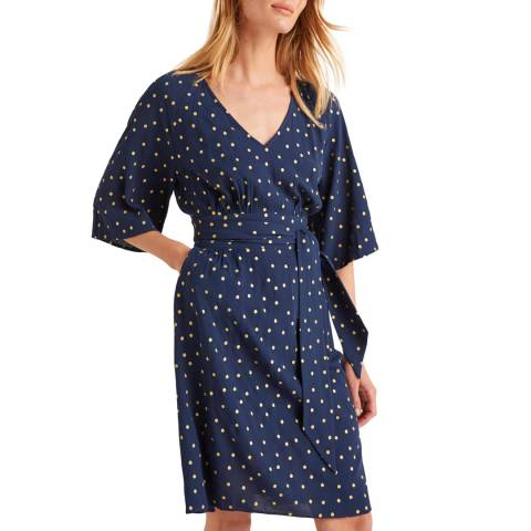 Boden Navy Dominique Belted Dress