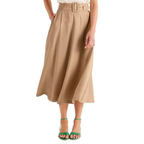 Boden Brown Poste Belted Midi Skirt