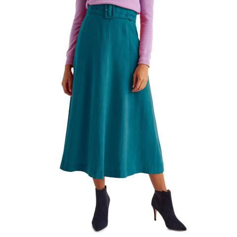 Boden Blue Poste Belted Midi Skirt