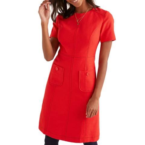 Boden Red Clara Textured Dress