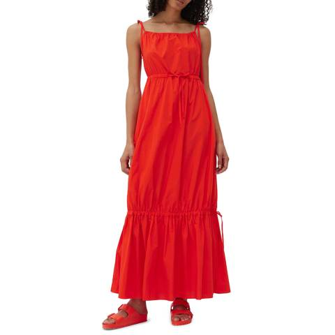 Chinti and Parker Red Cotton Drawstring Sundress