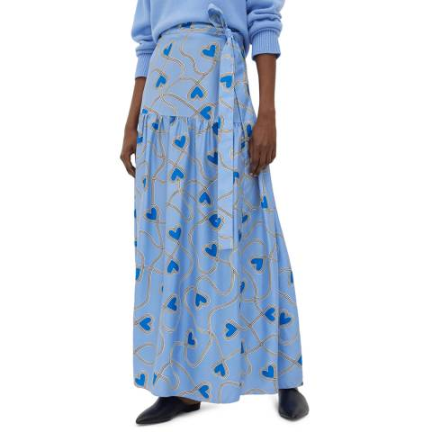 Chinti and Parker Sky Blue Anni Heart Skirt