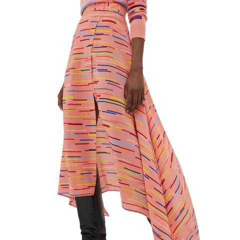 Chinti and Parker Dusty Rose Verticals Silk Skirt