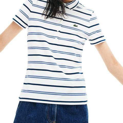 Lacoste White/Navy Stripe Polo Shirt