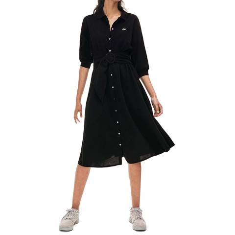 Lacoste Black Belted Cotton Polo Dress