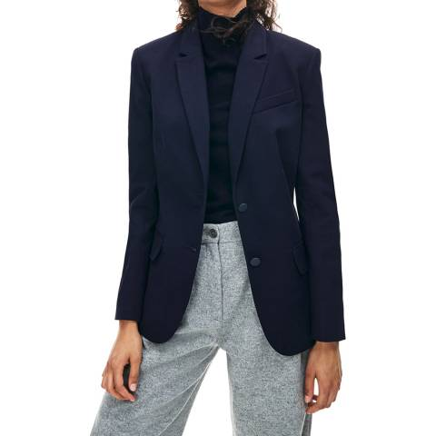 Lacoste Navy Fitted Cotton Stretch Blazer