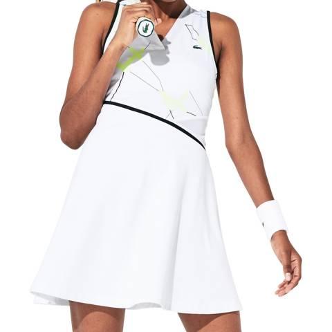 LACOSTE SPORT White/Black Geometric Tennis Dress