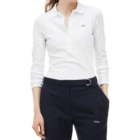 Lacoste White Long Sleeve Cotton Stretch Polo Shirt