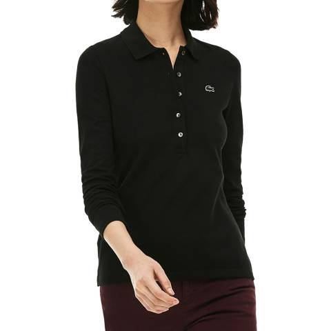Lacoste Black Long Sleeve Cotton Stretch Polo Shirt