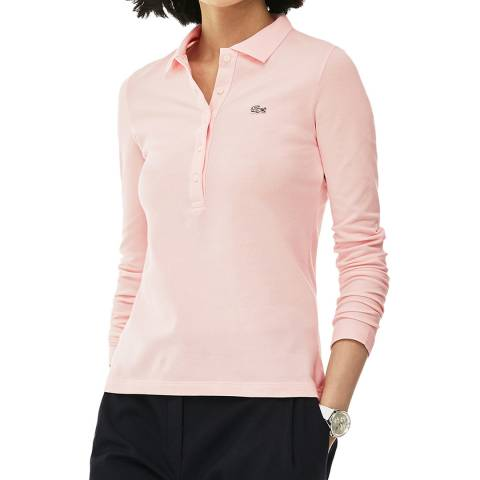 Lacoste Pink Long Sleeve Cotton Stretch Polo Shirt