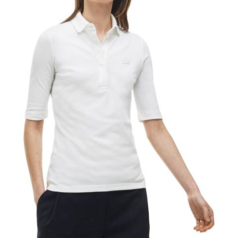 Lacoste White Half Sleeve Polo Shirt