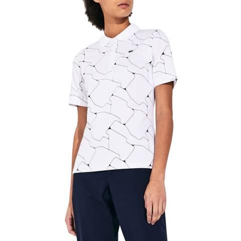 LACOSTE SPORT White/Black Printed Polo Shirt