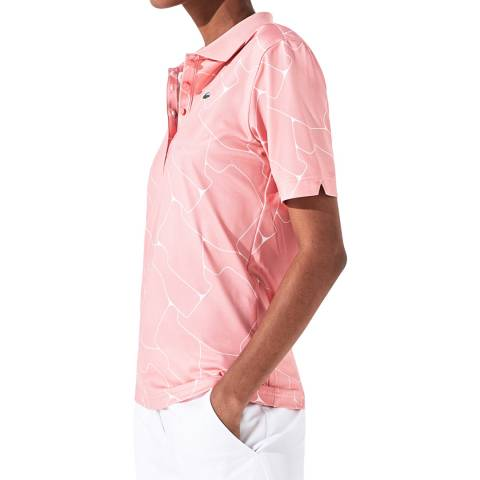 LACOSTE SPORT Pink/White Printed Polo Shirt