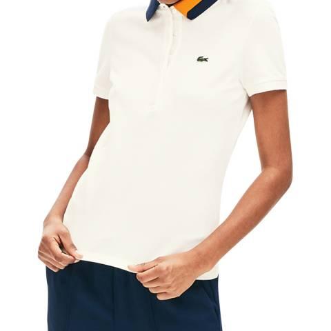 Lacoste White Contrast Collar Cotton Polo Shirt