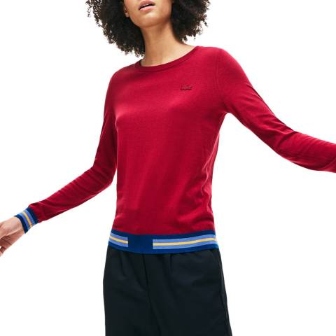 Lacoste Bordeaux Silk/Cotton Blend Jumper