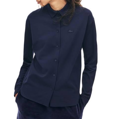 Lacoste Navy Long Sleeve Split Hem Shirt