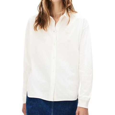 Lacoste White Long Sleeve Split Hem Shirt