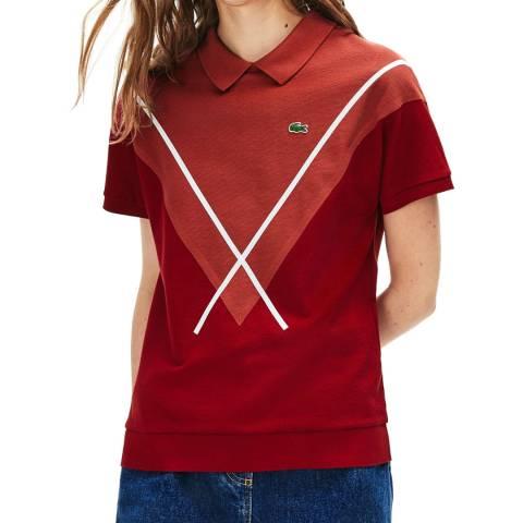 Lacoste Red Jacquard Pique Cotton Polo Shirt