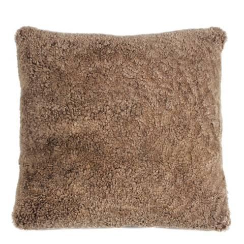 AUSKIN Flax Coffee Sheepskin Cushion 35x35cm