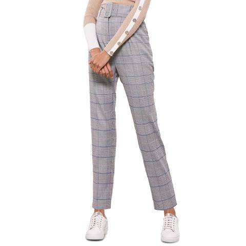 Mint Velvet Check Belted Tapered Trousers
