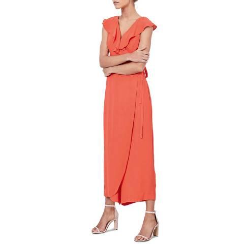 Mint Velvet Coral Ruffled Wrap Jumpsuit