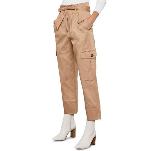 Mint Velvet Camel Belted Cargo Trousers