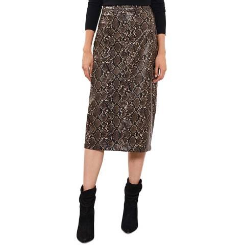 Mint Velvet Snake Faux Leather Midi Skirt