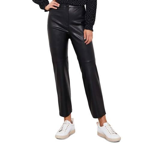 Mint Velvet Black Faux Leather Trousers