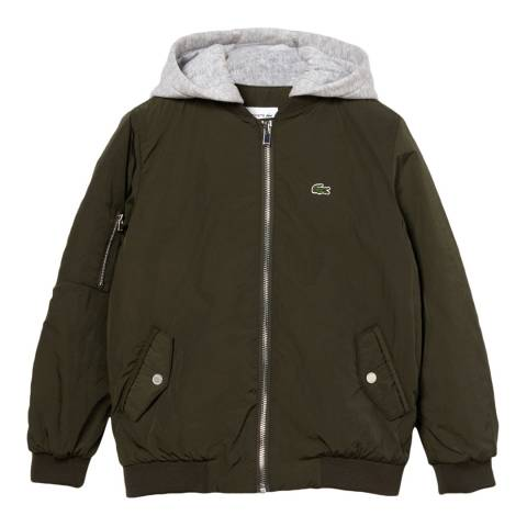Lacoste Boy's Green Hooded Bomber Jacket
