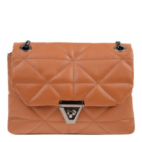 Carla Ferreri Cognac Leather Shoulder/Crossbody Bag